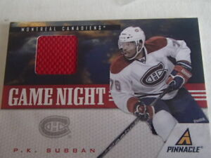 carte de hockey gaime night p.k. subban jersey