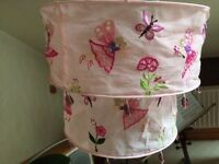 Girls pink fairy voile bead pendant lampshade.