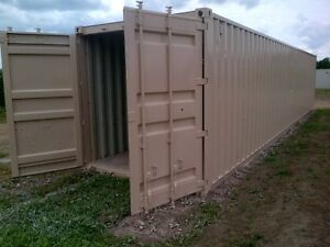 Mobile newly painted storage containers