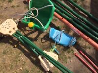 Large Triple Swing Set Tubular metal - two swings (includes one baby seat) and see-saw glider