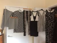 Black and white collection of outfits.