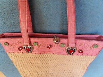 (Pink faux Leather Straw Handbag 3D Silver / Enamel/Rhinestone hearts flowers NEW)
