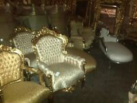 last 5 days French carved brand new reccoco arm chair gold and cream half price for one week only