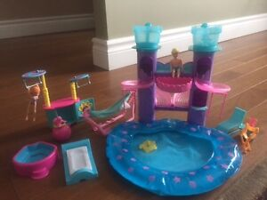 Polly Pockets pool set, rollercoaster, car, magnetic doll