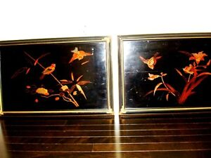 old CHINESE lacquer WALL ART SET x4 BIRDS BAMBOO IRIS DOGWOOD Cambridge Kitchener Area image 2