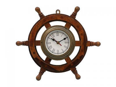 Antique Brass and Wood Ship Wheel Clock 18