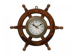 Antique Brass and Wood Ship Wheel Clock 18 - Ship Steering Wheel Clock - Nautic