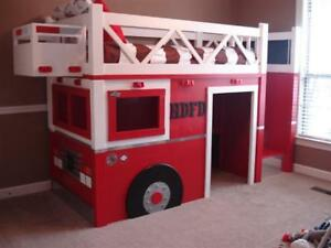 FIRE TRUCK - Loft Bed & Play House / Bunk Bed .. ♥‿♥