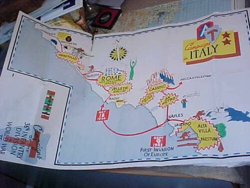 ORIGINAL WWII 36th DIVISION CAMPAIGNS IN ITALY SOUVENIR MAP