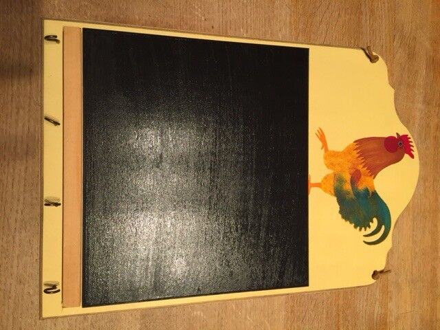 Wooden chalk board with cockerel, new