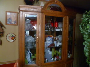 HUTCH, AND DISPLAY CABINET, TABLE & CHAIRS