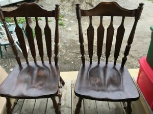 Set of 4 large wood table chairs