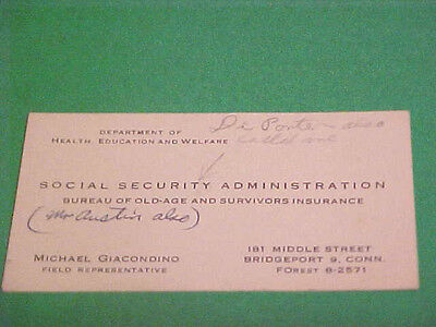 Vintage Calling Business Card Social Security Administration Michael Giacondino