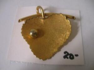 HEART-SHAPED OLD VINTAGE GOLDTONE BROOCH ['60's]