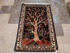 BLACK TREE OF LIFE BIRDS HAND KNOTTED RUG CARPET WOOL Fb-2737