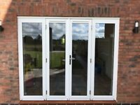 4 pane patio door set to fit opening approx 2400mm-wide 2010mm-high 9 months old double glazed