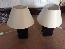 Set of brown and cream lamps