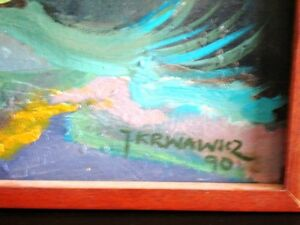 """Contemporary ORIGINAL OIL PAINTING ABSTRACT Polish 49""""L Krwawicz Kitchener / Waterloo Kitchener Area image 6"""