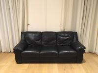 Black J H Hicolity sofa suite: 3 seater, 2 seater & footstool