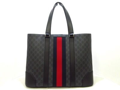 Auth GUCCI 495560 Black Gray Multi PVC & Leather Tote Bag