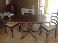 Mahogany 6 seater folding dining table and chairs