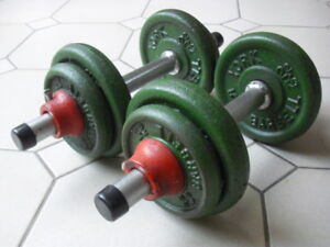 VINTAGE 1980s York Barbell set 110lb - MINT CONDIT- in orig box