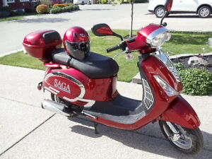Metalic red with silver trim scooter