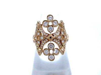 Auth LOUIS VUITTON 18K RG Diamond Bague Dentelle de Monogram Q9I10A Ring #47