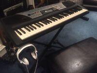 Yamaha Electric Keyboard & Stand & Seat With Sony Earphones !!