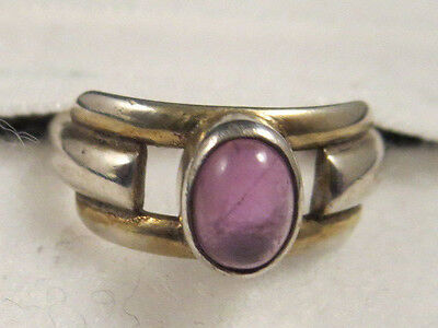 Vintage 925 Marked YE5 Signed Modernistic Purple (Amethyst?) Stone Ring Sz 6 1/4