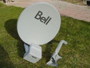 Used Bell TV Dish DPlus QUAD LNB with satellite dish wall mount