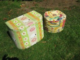 KIDS UPHOLSTERED TOY BOX AND BEAN BAG **PRICE REDUCED**