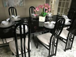 Black Lacquer Dining Room Furniture (13 Pieces)