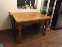 Pine Kitchen table and 4 chairs