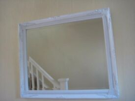 ORNATE WHITE DECORATIVE MIRROR