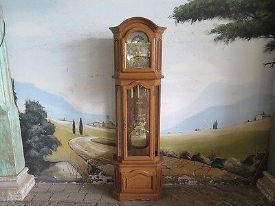 14291 Standuhr Uhr Westminster Viertelschlag Massivholz Eiche 2,12 m