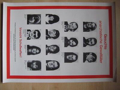 Gesuchte Anarchistische Gewalttäter - Fahndungsplakat 70er Jahre  RAF