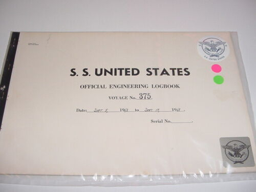 SS UNITED STATES LINES 1968 Logbook / Voyage #375 / Eastbound & Westbound