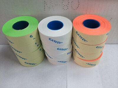 Genuine Garvey Labels For Price Gun 22-6 22-7 22-8 White Red Green 12 Rolls