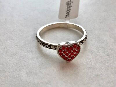 BRIGHTON Red Crystal Heart  Ring- Silver   Size 9  Retail $47  NEW
