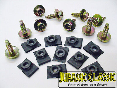 """20x 46-80 Chevy AMC GMC 5/16"""" J Type Floating Cage U Nuts & 5/16"""" Hex Head Bolts"""
