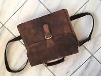 "Cuero 14"" Leather Office Bag Vintage Leather Messenger Satchel"