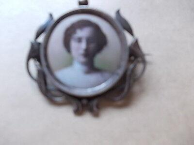 !!!!!!!!! superbe  petite broche ancienne en argent porte photo