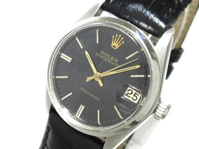 Auth ROLEX Oyster Date 6466 Black, Silver 1507066