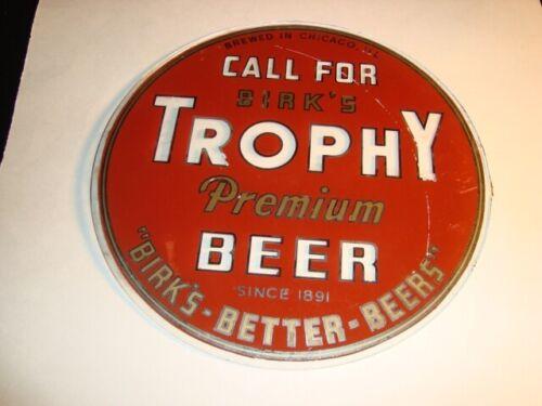 Circa 1940s Trophy Reverse Glass Beer Sign, Birk Bros, Chicago, Illinois