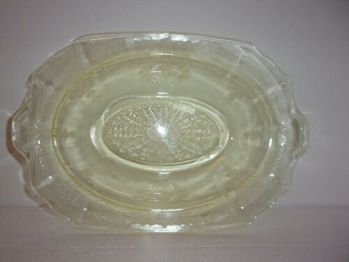 Hocking Co– Vtg-Yellw Depression Glass– Princess Pattern- 9 1/2 Oval ServingBowl