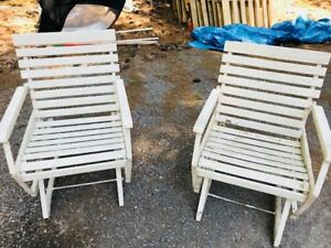 PAIR OF RARE, VINTAGE  1950's SLIDER LAWN CHAIRS