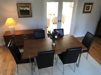 Dining Table & matching sideboard with 6 leather chairs