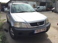 2002 Honda CR-V, starts and drives well, MOT until 1st September, exhaust blowing, hence price, car