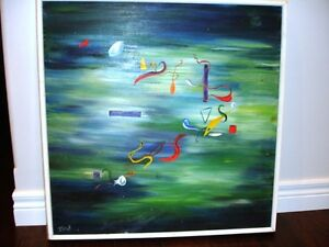 ORIGINAL ABSTRACT oil painting SPACE DUST signed WILLIAMS vntg.
